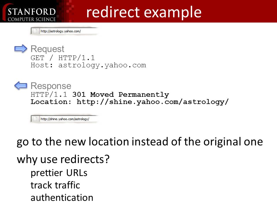redirect example go to the new location instead of the original one why use redirects.