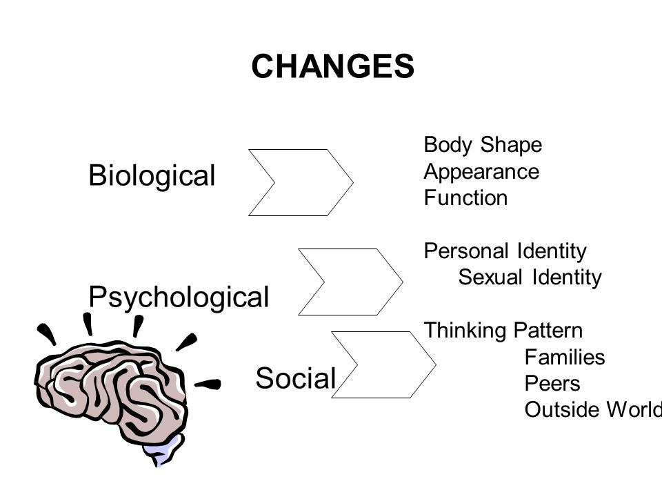 CHANGES Biological Psychological Social Body Shape Appearance Function Personal Identity Sexual Identity Thinking Pattern Families Peers Outside World