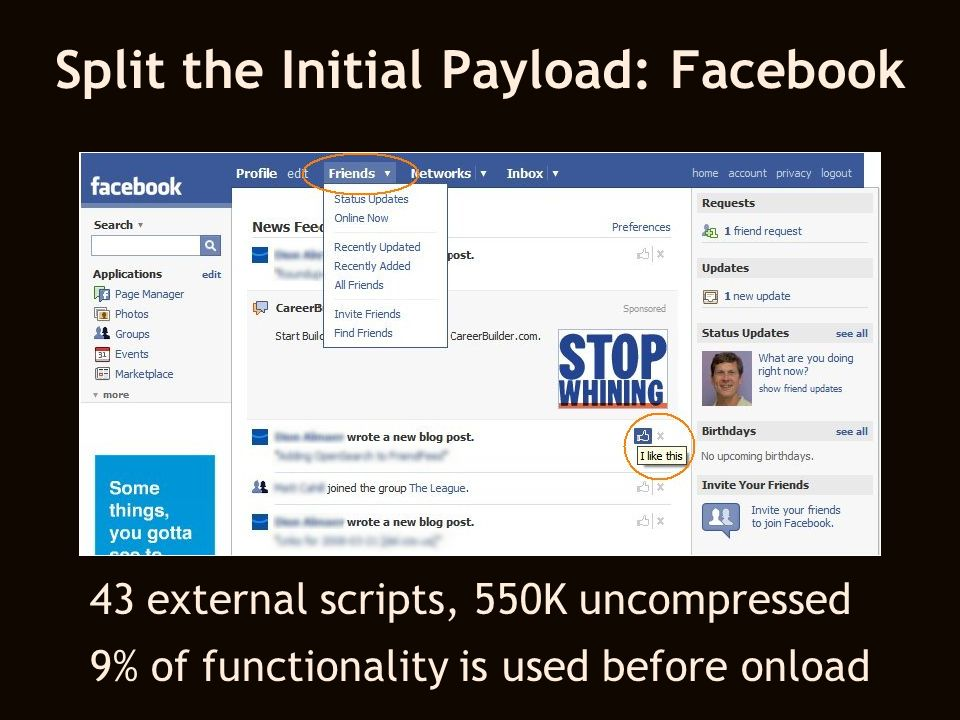 Split the Initial Payload: Facebook 43 external scripts, 550K uncompressed 9% of functionality is used before onload
