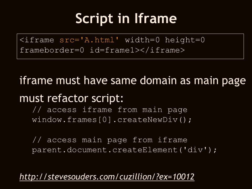 Script in Iframe <iframe src= A.html width=0 height=0 frameborder=0 id=frame1> iframe must have same domain as main page must refactor script: // access iframe from main page window.frames[0].createNewDiv(); // access main page from iframe parent.document.createElement( div );   ex=10012