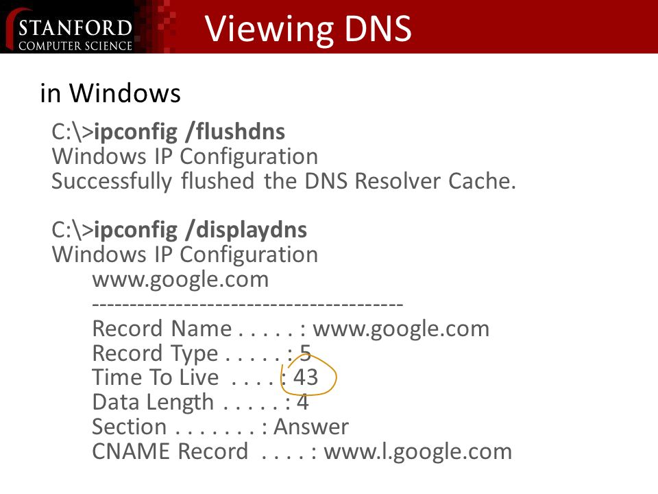 Viewing DNS in Windows C:\>ipconfig /flushdns Windows IP Configuration Successfully flushed the DNS Resolver Cache.
