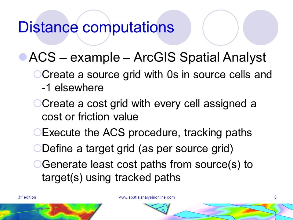 3 rd editionwww.spatialanalysisonline.com8 Distance computations ACS – example – ArcGIS Spatial Analyst Create a source grid with 0s in source cells and -1 elsewhere Create a cost grid with every cell assigned a cost or friction value Execute the ACS procedure, tracking paths Define a target grid (as per source grid) Generate least cost paths from source(s) to target(s) using tracked paths