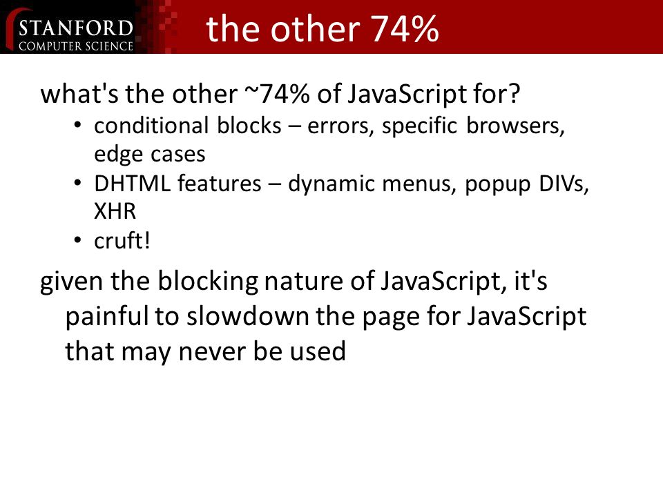 the other 74% what s the other ~74% of JavaScript for.
