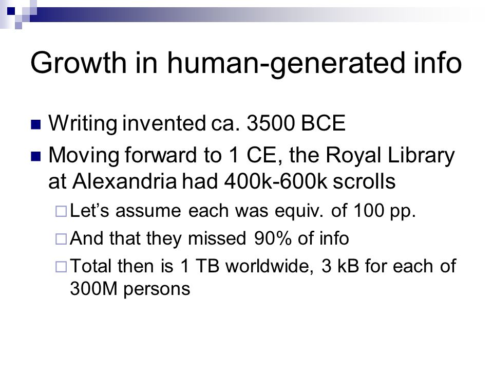 Growth in human-generated info Writing invented ca.