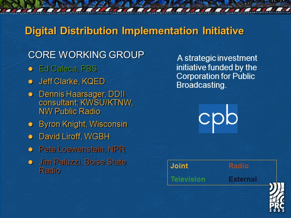 Digital Distribution Implementation Initiative CORE WORKING GROUP Ed Caleca, PBS Ed Caleca, PBS Jeff Clarke, KQED Jeff Clarke, KQED Dennis Haarsager, DDII consultant; KWSU/KTNW, NW Public Radio Dennis Haarsager, DDII consultant; KWSU/KTNW, NW Public Radio Byron Knight, Wisconsin Byron Knight, Wisconsin David Liroff, WGBH David Liroff, WGBH Pete Loewenstein, NPR Pete Loewenstein, NPR Jim Paluzzi, Boise State Radio Jim Paluzzi, Boise State Radio A strategic investment initiative funded by the Corporation for Public Broadcasting.