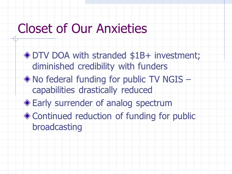 Closet of Our Anxieties DTV DOA with stranded $1B+ investment; diminished credibility with funders No federal funding for public TV NGIS – capabilities drastically reduced Early surrender of analog spectrum Continued reduction of funding for public broadcasting