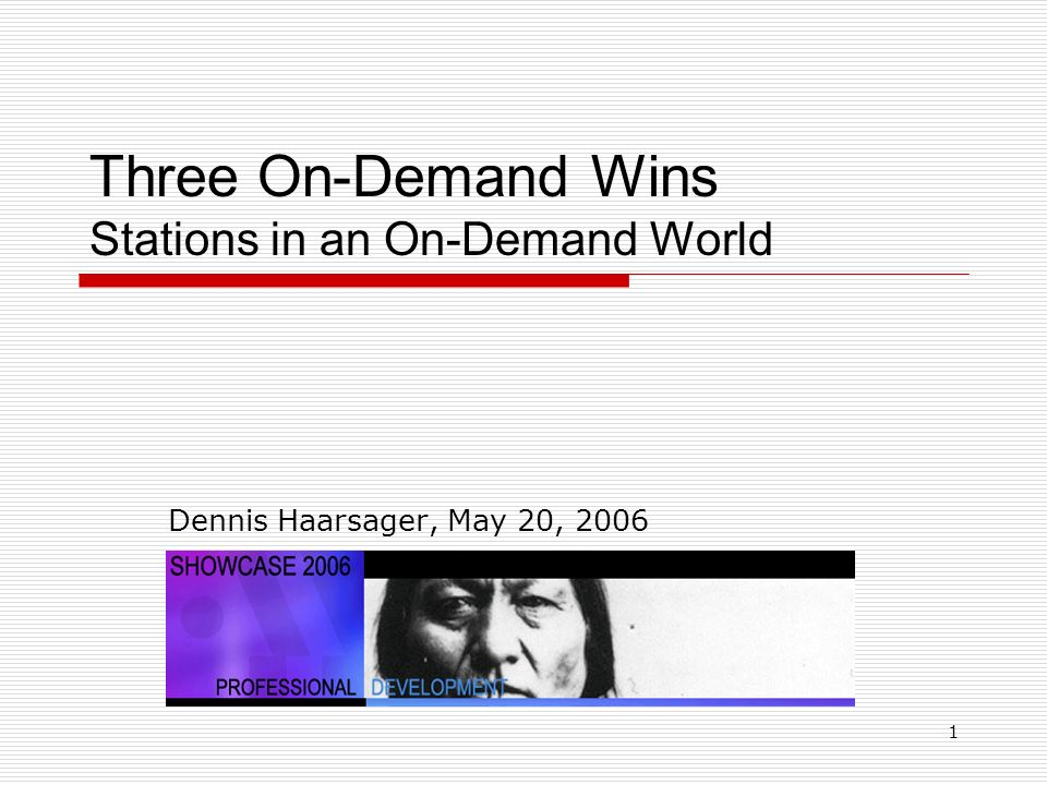 1 Three On-Demand Wins Stations in an On-Demand World Dennis Haarsager, May 20, 2006