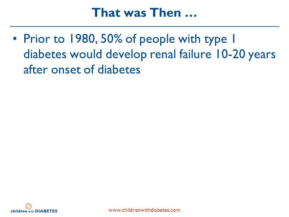 That was Then … Prior to 1980, 50% of people with type 1 diabetes would develop renal failure years after onset of diabetes