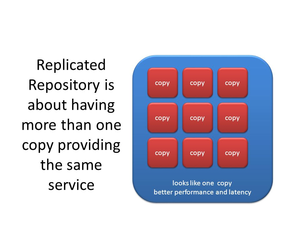Replicated Repository is about having more than one copy providing the same service looks like one copy better performance and latency looks like one copy better performance and latency copy
