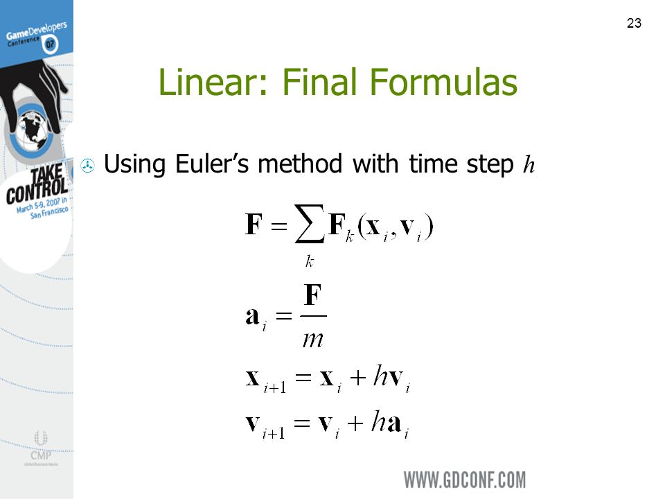23 Linear: Final Formulas Using Eulers method with time step h