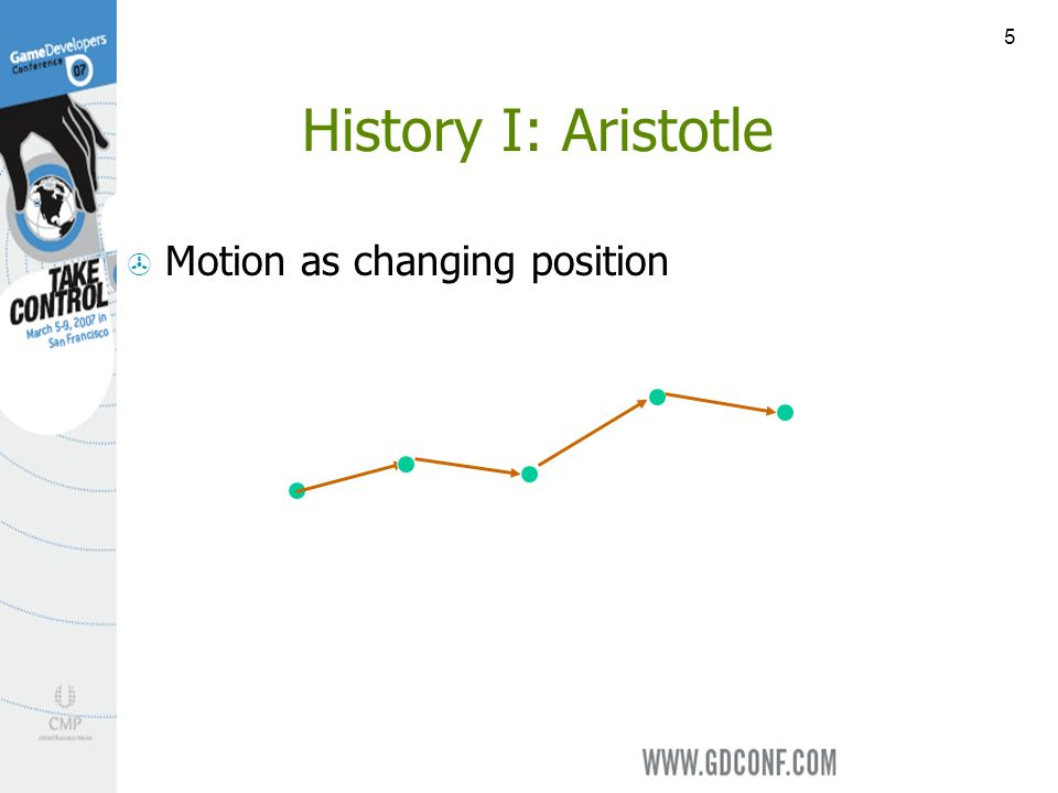 5 History I: Aristotle Motion as changing position