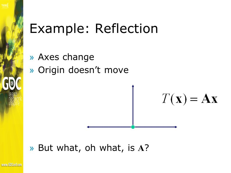 Example: Reflection »Axes change »Origin doesnt move But what, oh what, is A