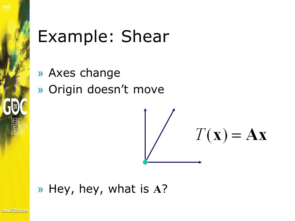 Example: Shear »Axes change »Origin doesnt move Hey, hey, what is A