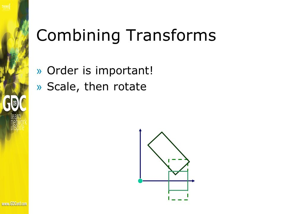 Combining Transforms »Order is important! »Scale, then rotate