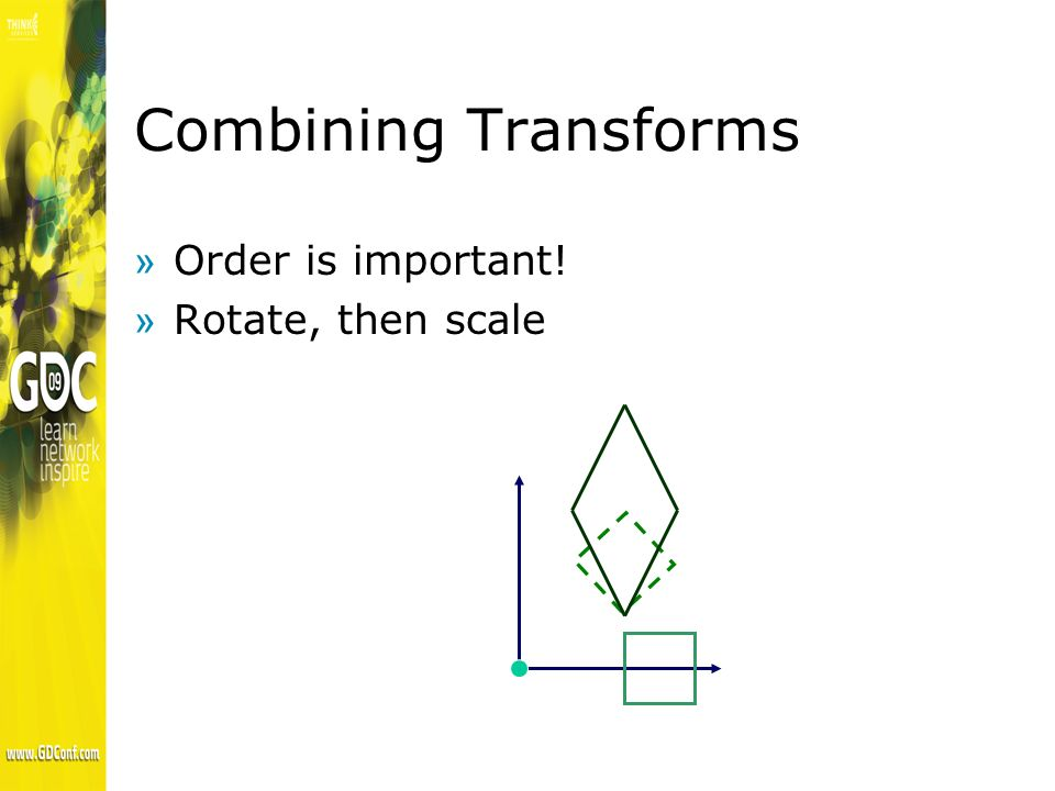 Combining Transforms »Order is important! »Rotate, then scale