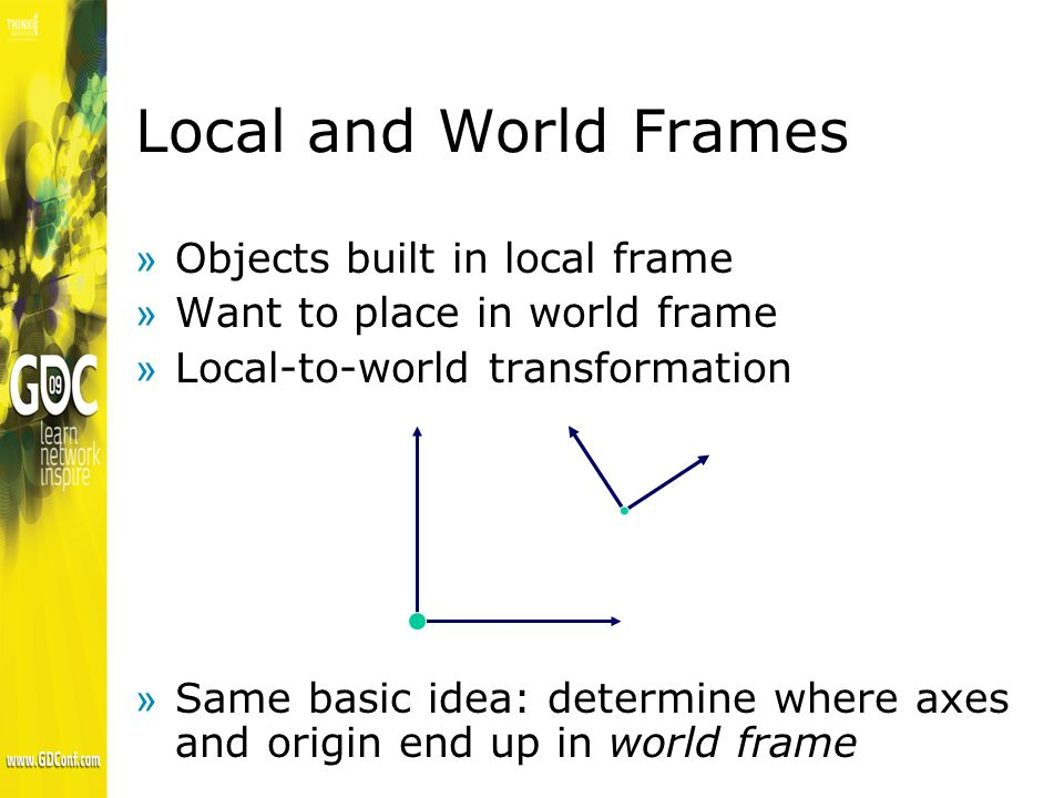 Local and World Frames »Objects built in local frame »Want to place in world frame »Local-to-world transformation »Same basic idea: determine where axes and origin end up in world frame