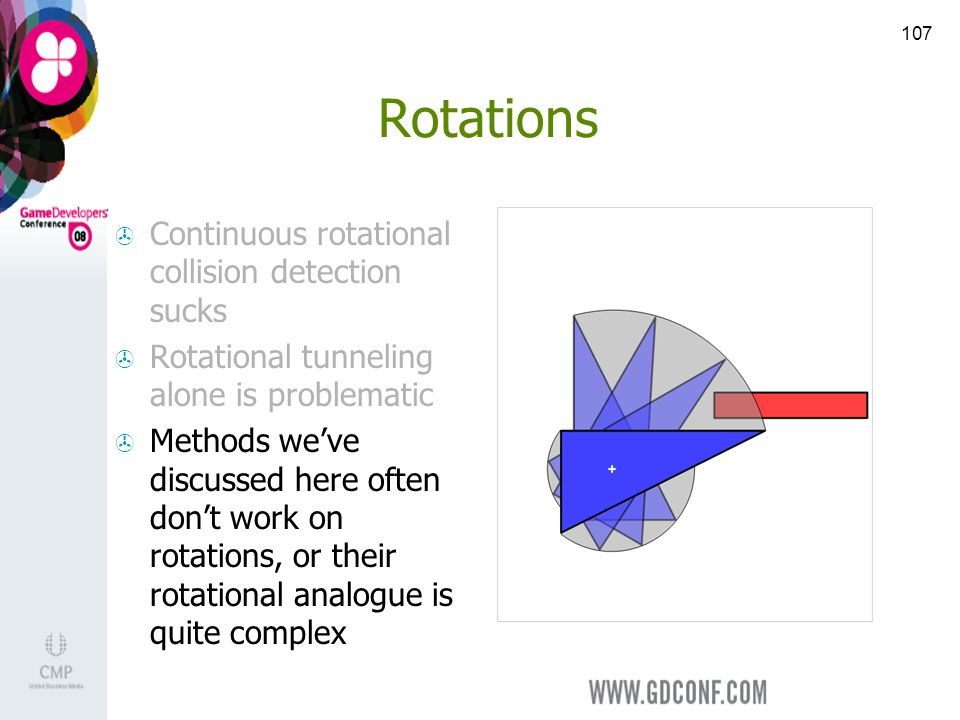 107 Rotations Continuous rotational collision detection sucks Rotational tunneling alone is problematic Methods weve discussed here often dont work on rotations, or their rotational analogue is quite complex