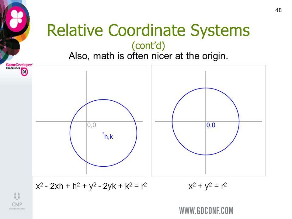 48 Relative Coordinate Systems (contd) x 2 + y 2 = r 2 x 2 - 2xh + h 2 + y 2 - 2yk + k 2 = r 2 Also, math is often nicer at the origin.