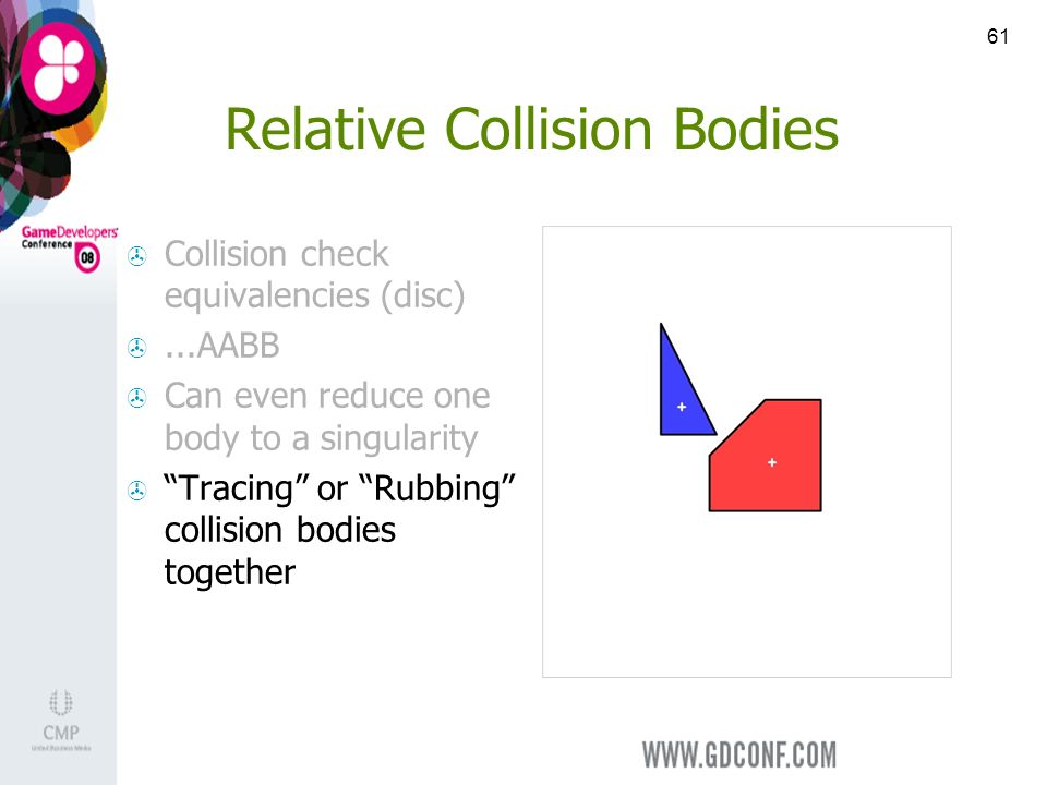 61 Relative Collision Bodies Collision check equivalencies (disc)...AABB Can even reduce one body to a singularity Tracing or Rubbing collision bodies together