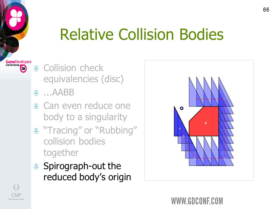 66 Relative Collision Bodies Collision check equivalencies (disc)...AABB Can even reduce one body to a singularity Tracing or Rubbing collision bodies together Spirograph-out the reduced bodys origin