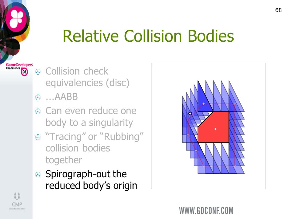 68 Relative Collision Bodies Collision check equivalencies (disc)...AABB Can even reduce one body to a singularity Tracing or Rubbing collision bodies together Spirograph-out the reduced bodys origin