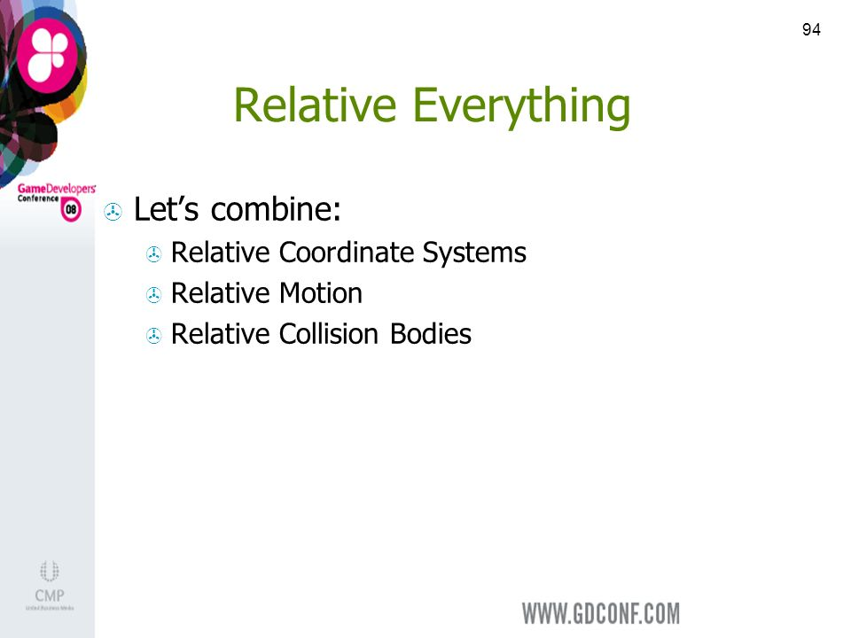 94 Relative Everything Lets combine: Relative Coordinate Systems Relative Motion Relative Collision Bodies