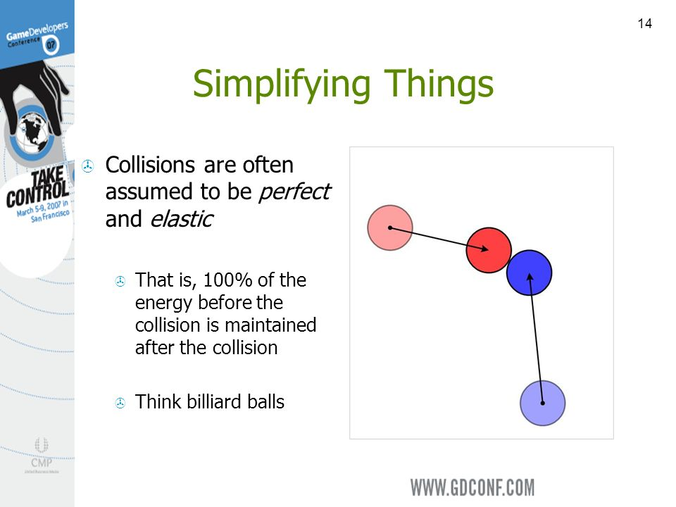 14 Simplifying Things Collisions are often assumed to be perfect and elastic That is, 100% of the energy before the collision is maintained after the collision Think billiard balls