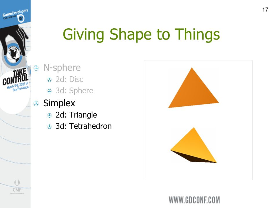 17 Giving Shape to Things N-sphere 2d: Disc 3d: Sphere Simplex 2d: Triangle 3d: Tetrahedron