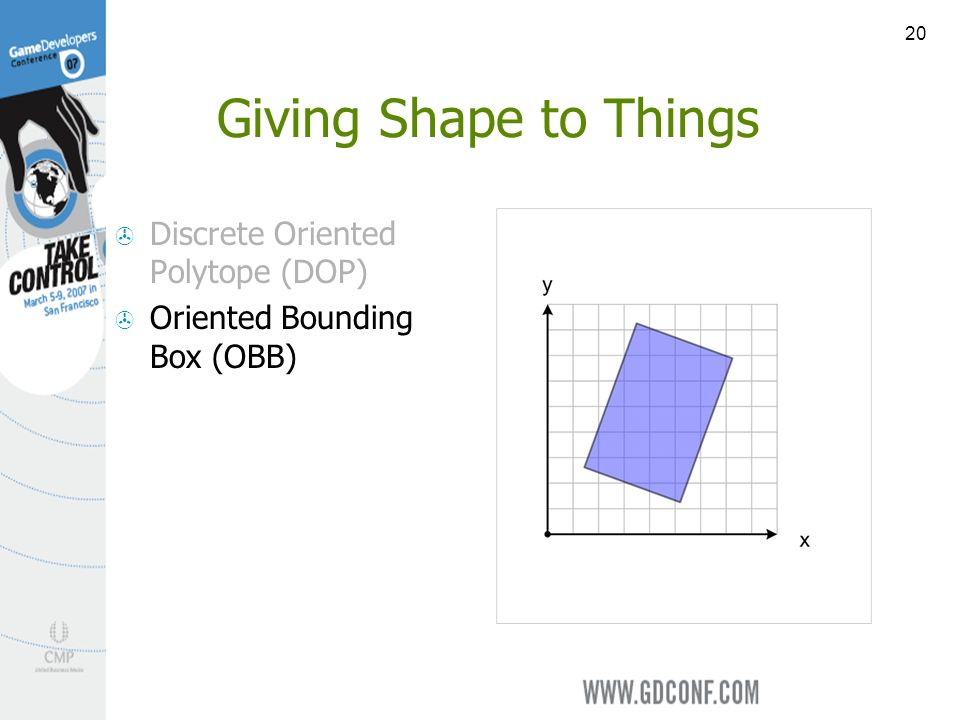 20 Giving Shape to Things Discrete Oriented Polytope (DOP) Oriented Bounding Box (OBB)