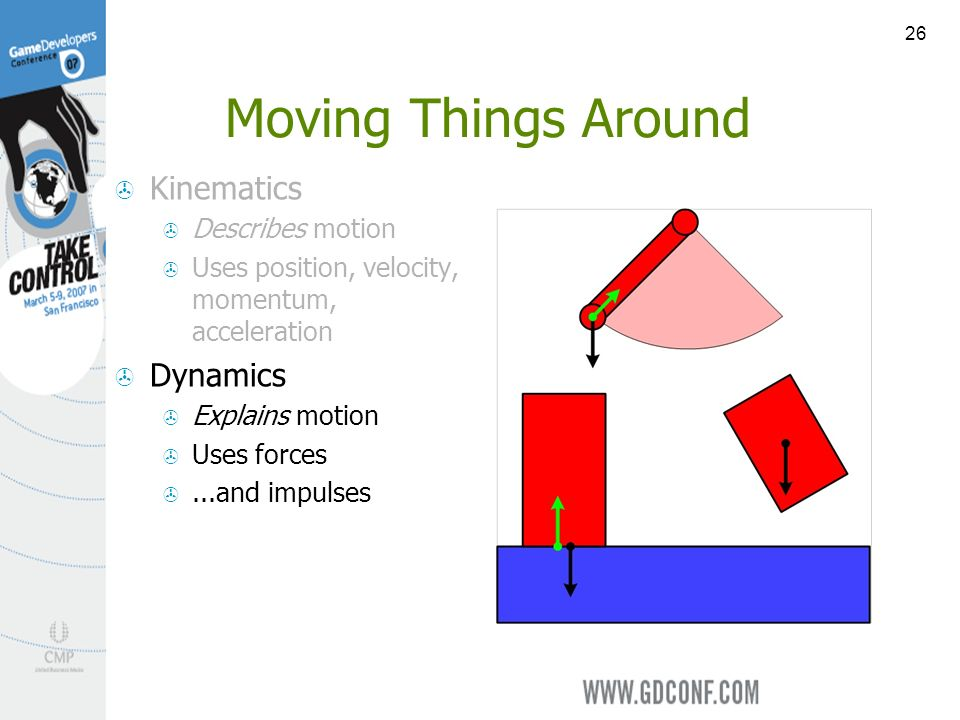 26 Moving Things Around Kinematics Describes motion Uses position, velocity, momentum, acceleration Dynamics Explains motion Uses forces...and impulses