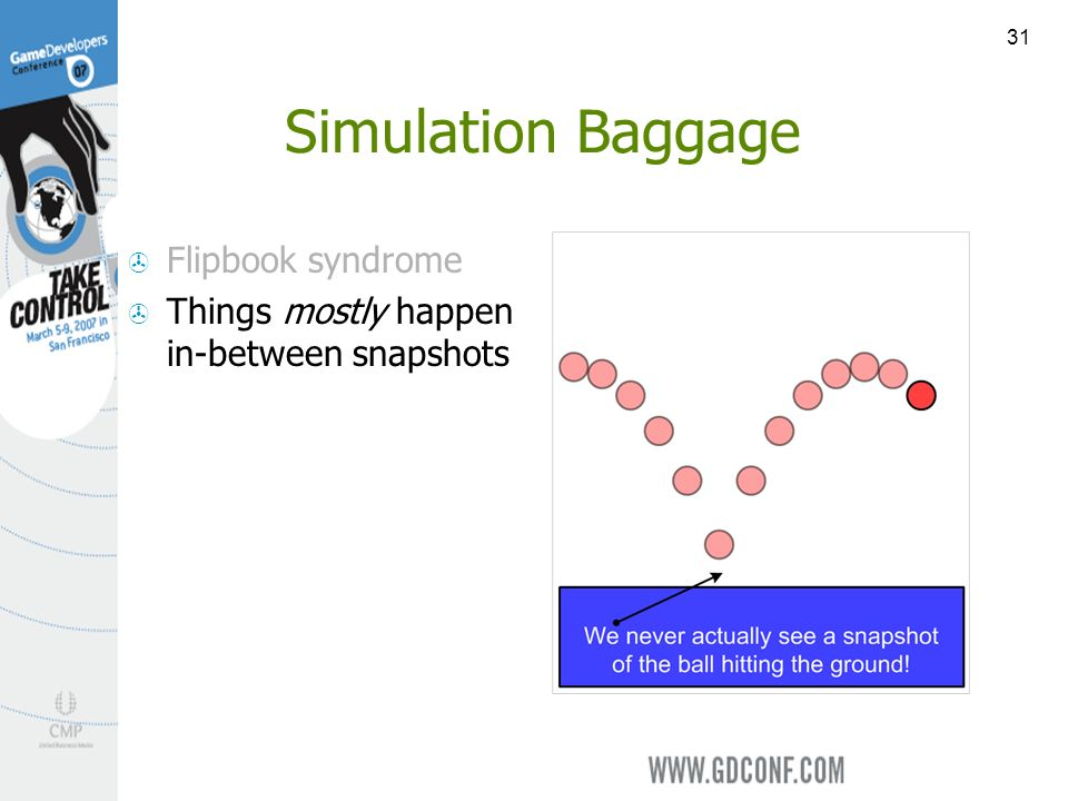 31 Simulation Baggage Flipbook syndrome Things mostly happen in-between snapshots