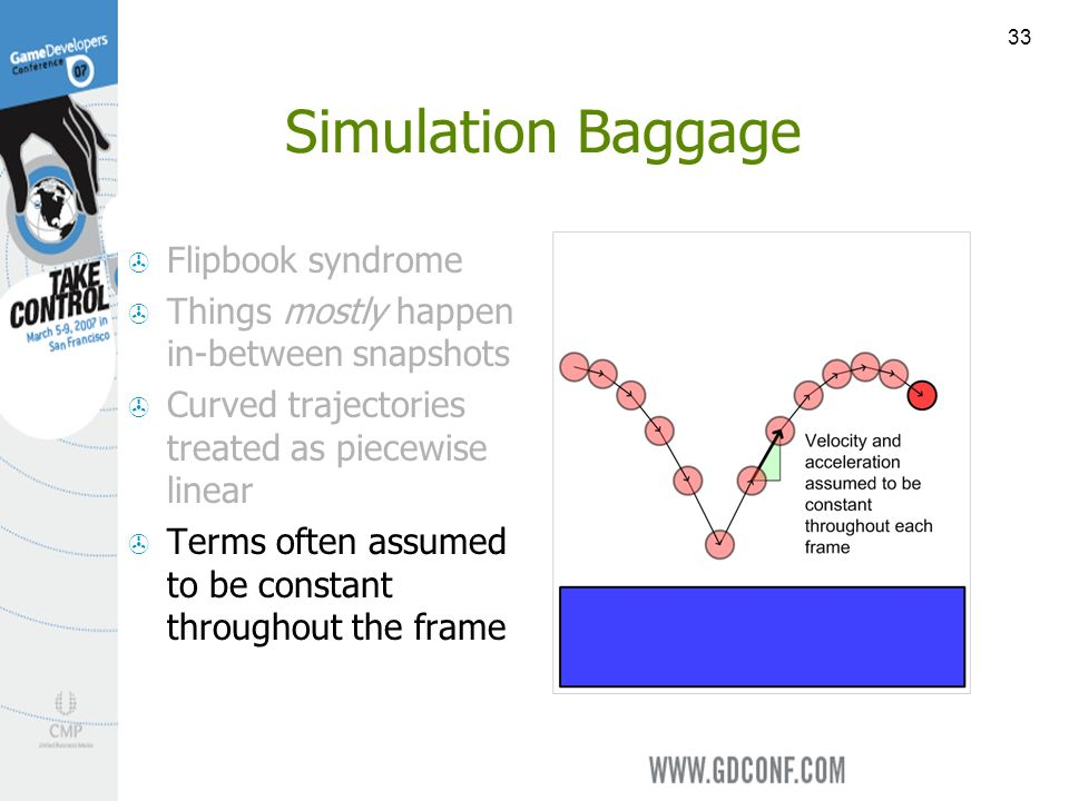 33 Simulation Baggage Flipbook syndrome Things mostly happen in-between snapshots Curved trajectories treated as piecewise linear Terms often assumed to be constant throughout the frame