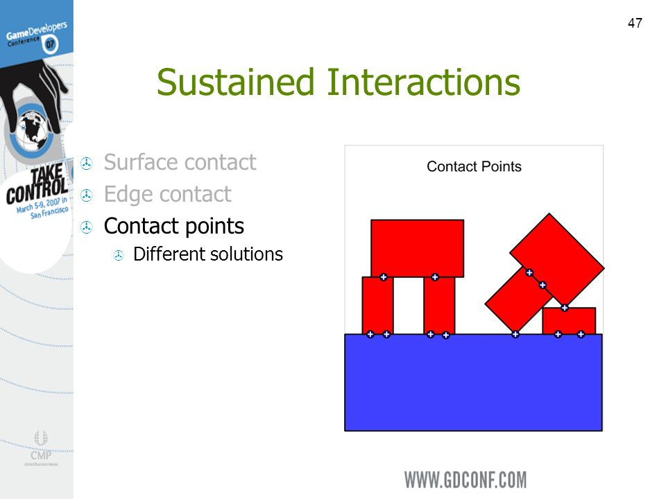 47 Sustained Interactions Surface contact Edge contact Contact points Different solutions