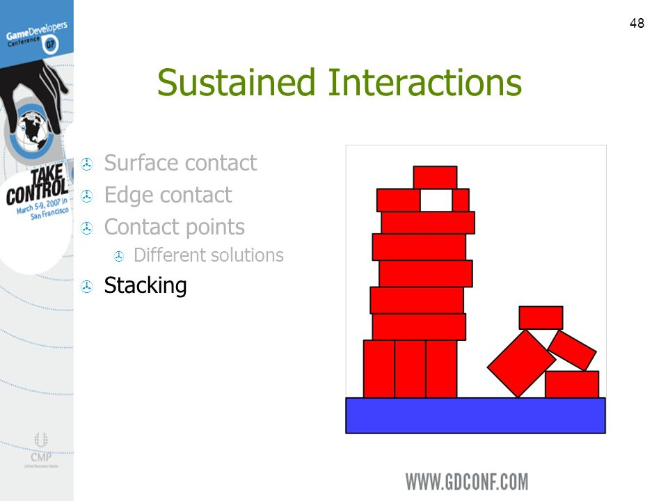 48 Sustained Interactions Surface contact Edge contact Contact points Different solutions Stacking