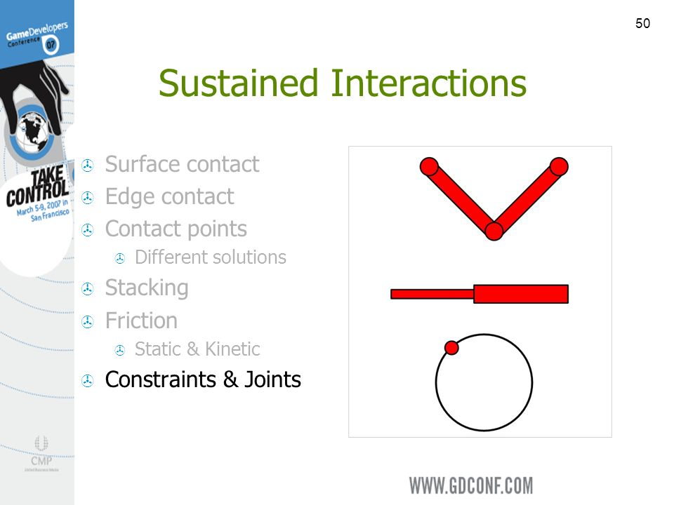50 Sustained Interactions Surface contact Edge contact Contact points Different solutions Stacking Friction Static & Kinetic Constraints & Joints