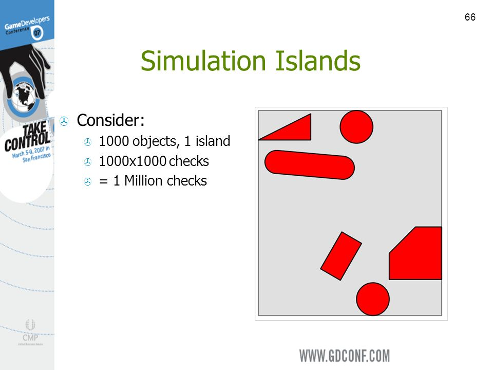 66 Simulation Islands Consider: 1000 objects, 1 island 1000x1000 checks = 1 Million checks