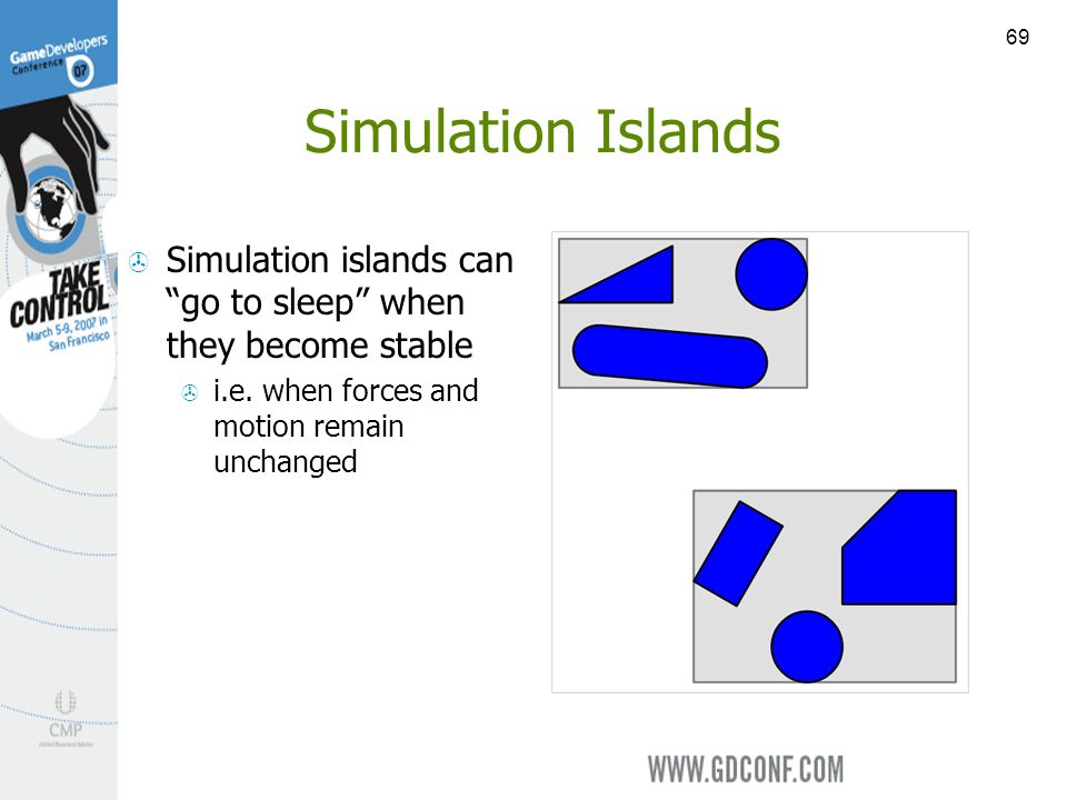 69 Simulation Islands Simulation islands can go to sleep when they become stable i.e.