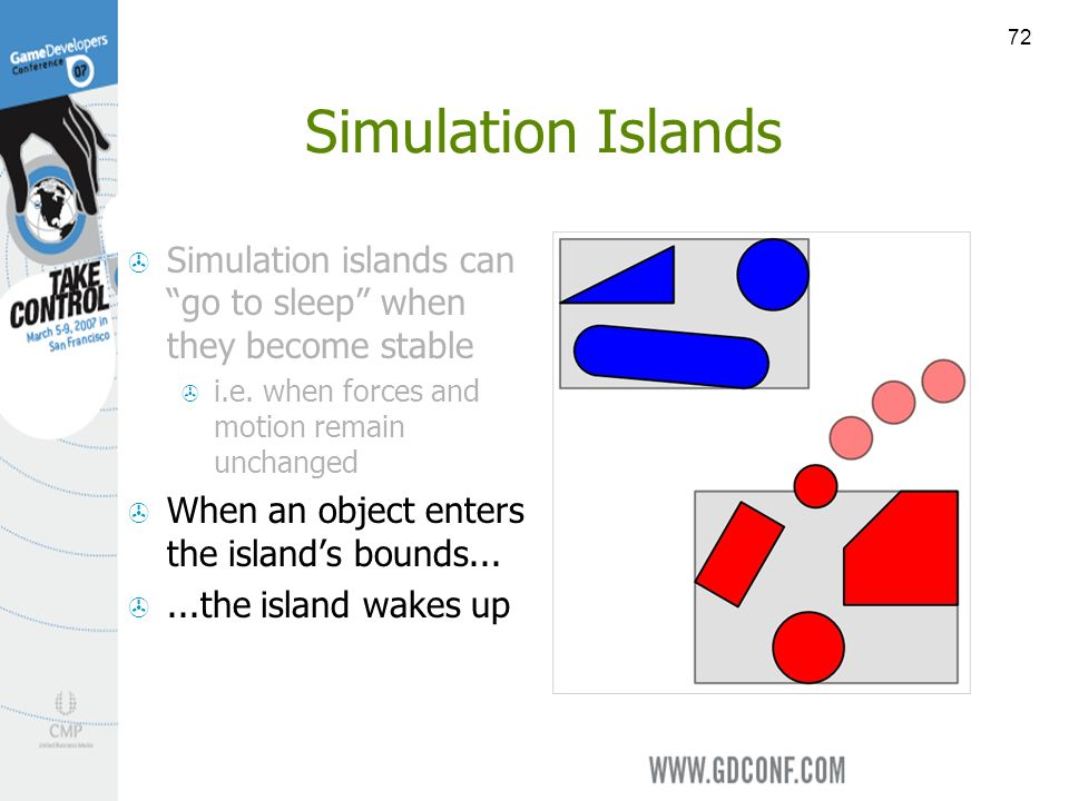 72 Simulation Islands Simulation islands can go to sleep when they become stable i.e.