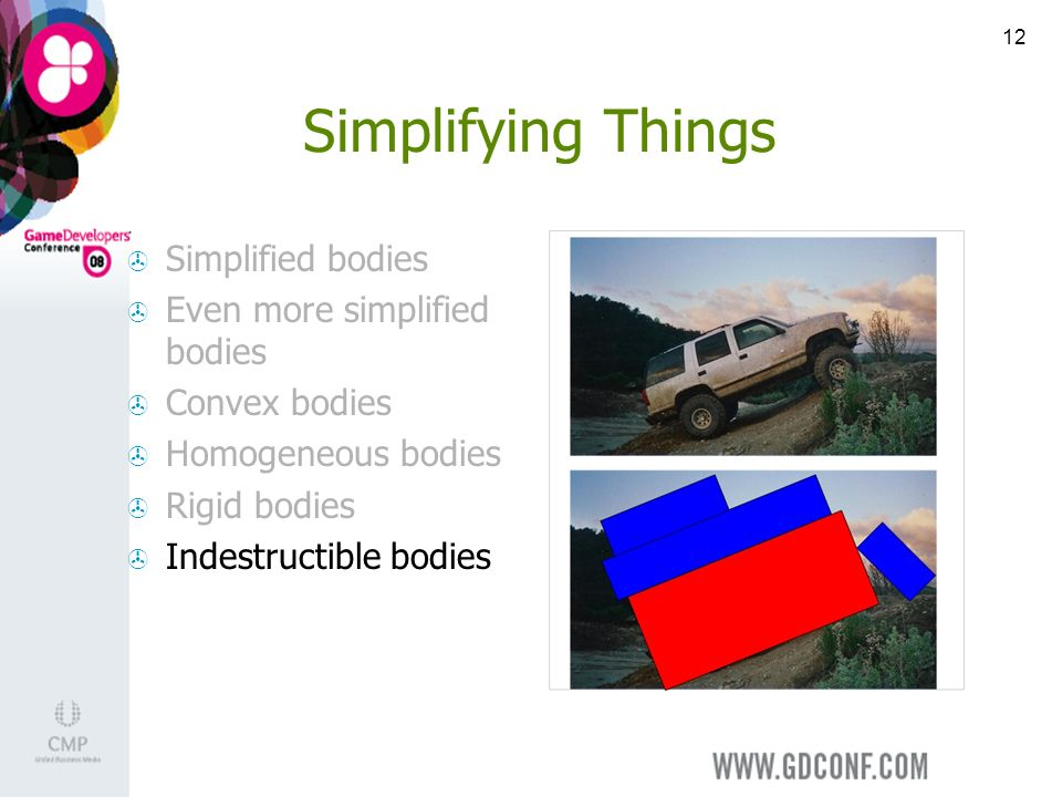 12 Simplifying Things Simplified bodies Even more simplified bodies Convex bodies Homogeneous bodies Rigid bodies Indestructible bodies