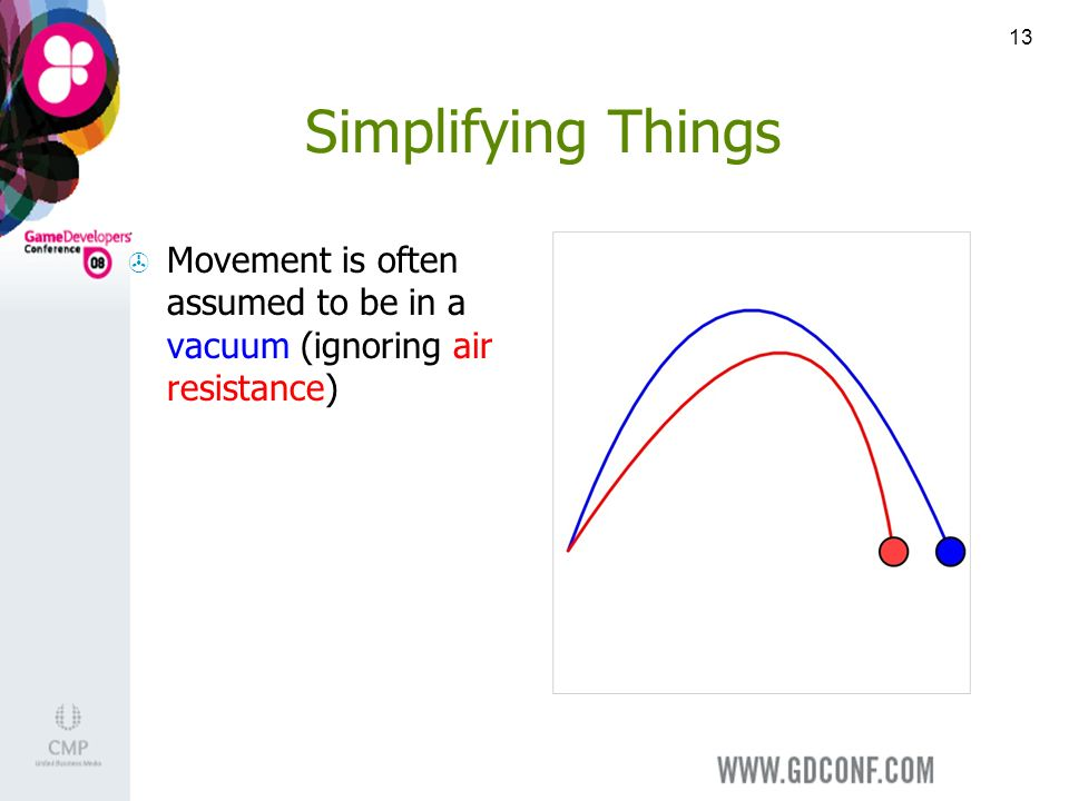 13 Simplifying Things Movement is often assumed to be in a vacuum (ignoring air resistance)