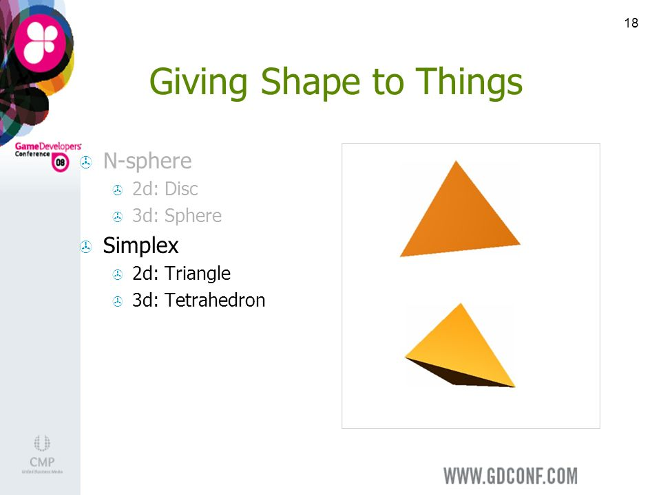 18 Giving Shape to Things N-sphere 2d: Disc 3d: Sphere Simplex 2d: Triangle 3d: Tetrahedron