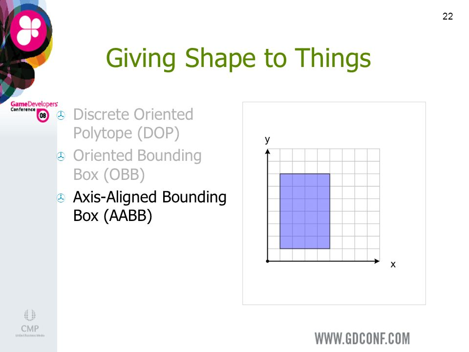 22 Giving Shape to Things Discrete Oriented Polytope (DOP) Oriented Bounding Box (OBB) Axis-Aligned Bounding Box (AABB)