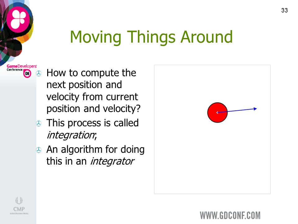 33 Moving Things Around How to compute the next position and velocity from current position and velocity.
