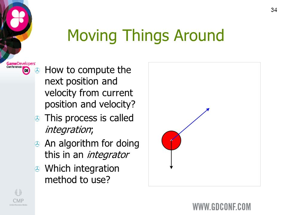 34 Moving Things Around How to compute the next position and velocity from current position and velocity.