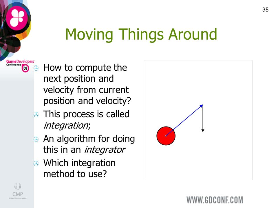 35 Moving Things Around How to compute the next position and velocity from current position and velocity.