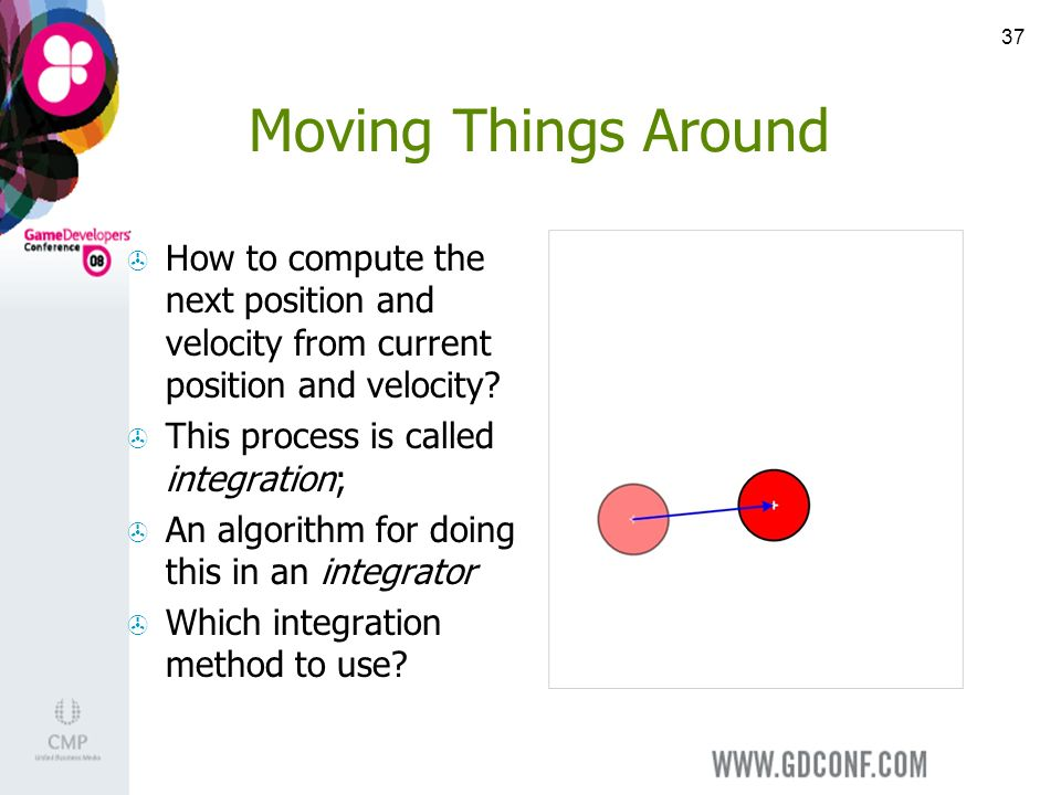 37 Moving Things Around How to compute the next position and velocity from current position and velocity.