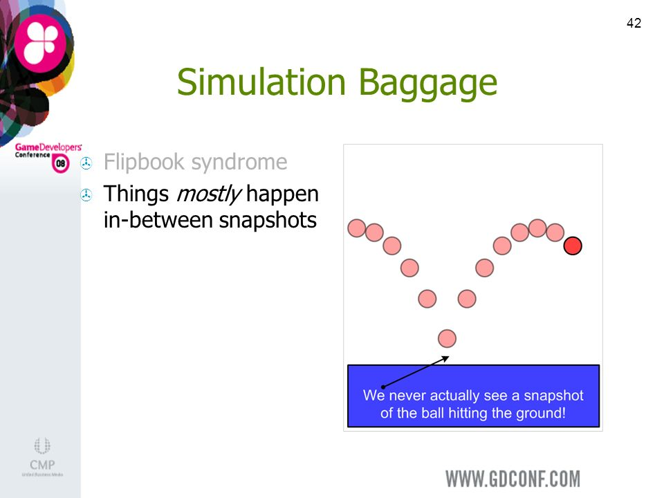 42 Simulation Baggage Flipbook syndrome Things mostly happen in-between snapshots