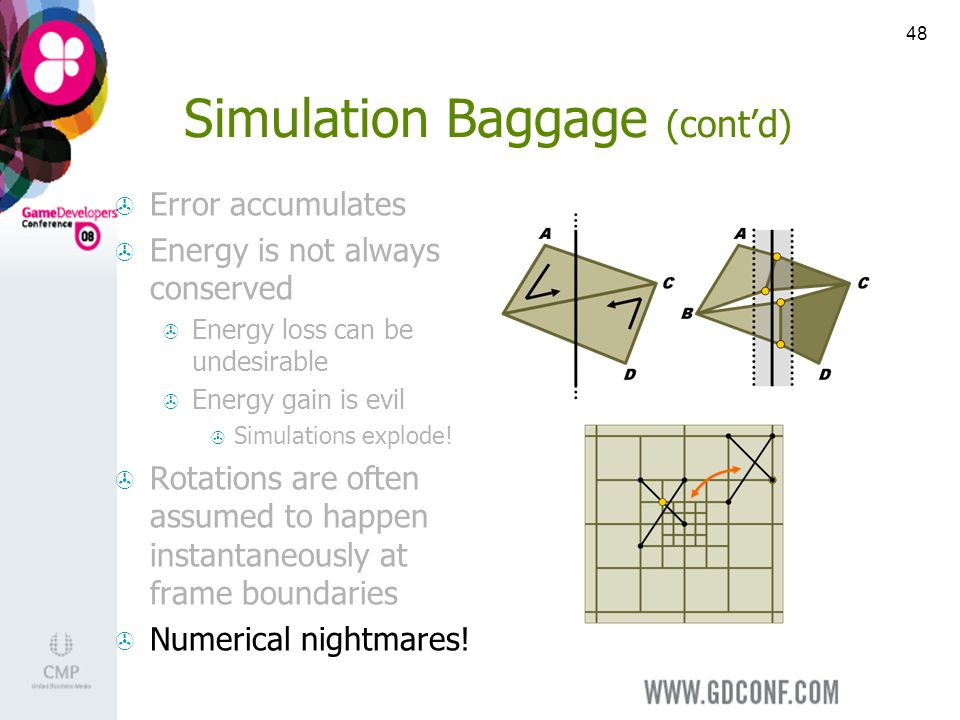 48 Simulation Baggage (contd) Error accumulates Energy is not always conserved Energy loss can be undesirable Energy gain is evil Simulations explode.