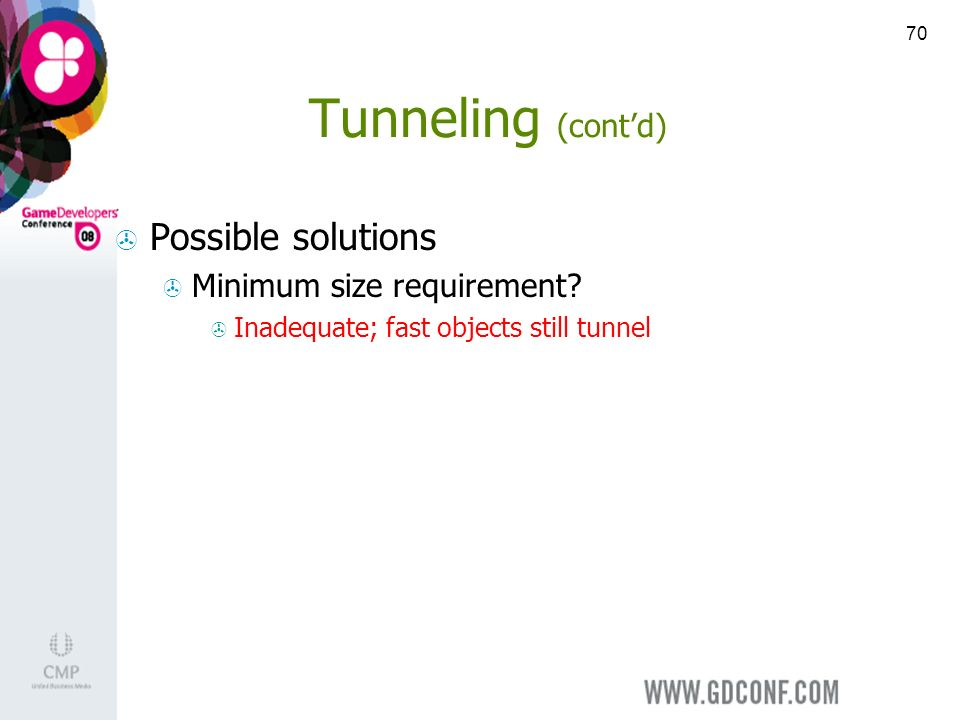 70 Tunneling (contd) Possible solutions Minimum size requirement.