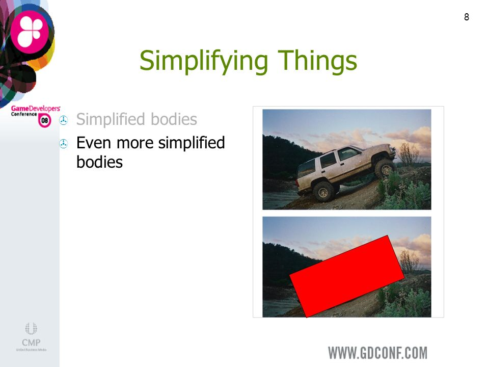 8 Simplifying Things Simplified bodies Even more simplified bodies
